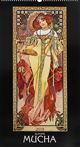 Alfons Mucha 2019 - Bildkalender (33 x 60) - Kunstkalender - Jugendstil- Wandkalender