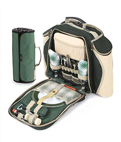 Greenfield Collection Deluxe 2 Personen Picknick Rucksack mit passender Decke in Förstergrün
