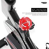 Miweba Sports Indoor Cycling MS100 Fitnessbike - 10 Kg Schwungmasse - Stufenfreie Widerstandsverstellung - Pulsmessung (Schwarz) - 5