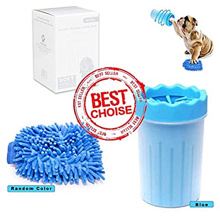 hundepfoten Reiniger,Haustier pfotenreiniger mit Handtuch ,pet Reinigung Pinsel, Blau/(Frottee in einer zufälligen Farbe…