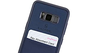 Sinjimoru Galaxy S8 Card Case, Étui s8 avec porte-cartes/Slim TPU Case avec bâton sur le porte-monnaie pour Samsung Galaxy S8/Galaxy S8 Wallet Case. Etui Sinji Pouch pour Samsung Galaxy S8, Marine.