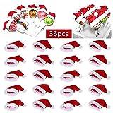 Mini Cappello Natalizio, 36Pcs Mini Babbo Natale Lollipop Top Wraps Toppers, per Natale Titolari di Posate, Coperchi di Caramelle, Decorazioni per Bottiglie di Vino (Rosso)