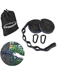 Overmont Kit de fixation hamac ultra-résistant 2 cordes hamac durable en polyester + 2 mousquetons de fer avec un sac de rangement