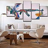 kuanmais Leinwand Spiel Ak-47 Gemälde Poster Hd Printed Home Dekorative 5 Stücke Wandkunst Modular Pictures