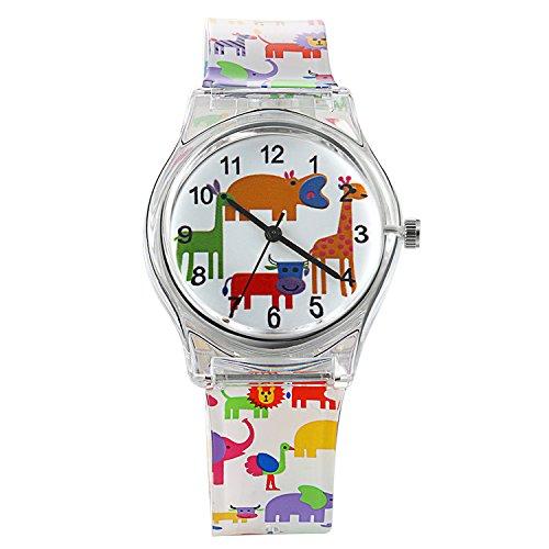n für Jungen , Analog Quarz Sport Outdoor Cartoon Tiere Wasserdicht Armbanduhr mit Silikon Armband (Halloween-zeit, Cartoon)