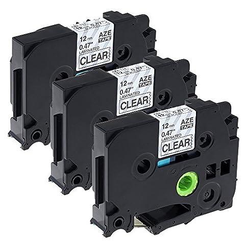 3 Pack Replacement Brother P touch Label Tape TZe131 / TZ131 / Black on Clear / 12mm x 8m / TZ Tape Compatible for Brother Label Maker PT-1000 PT-1010R PT-2030VP PT-2430PC PT-D600VP PT-E100 PT-H110 PT-D210