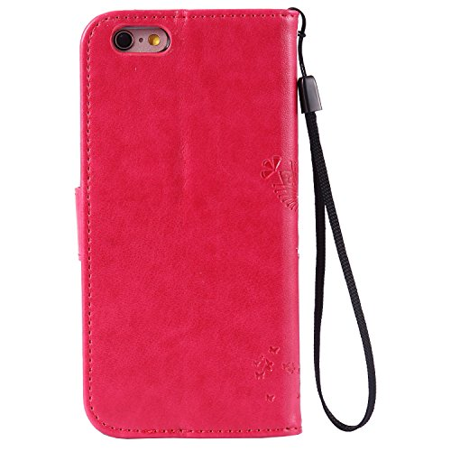 iPhone 6S Custodia Portafoglio con Strass, Tebeyy sottile Premium [Portafoglio in pelle Flip Book], Cover con Supporto, [chiusura magnetica] [Card Slot], per Apple Iphone 6/6S 4.7, lusso strass elegan Tree,Rose Red