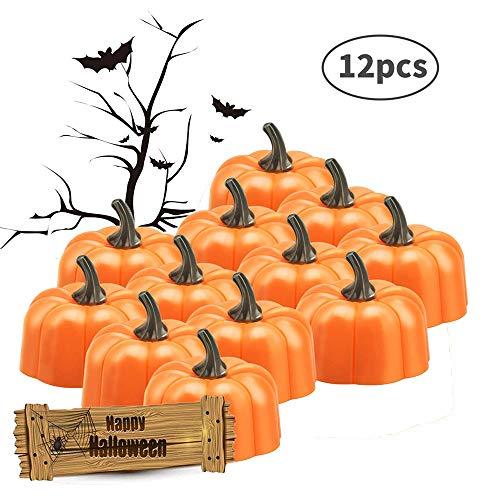 Orange Kürbis Teelichter LED-Teelichter Kerzen 3D Kürbis beleuchtet Kürbis flammenlose Kerze Halloween Kürbis Lichter, die für Hochzeit, Parteien Bar Restaurant Festival Feier Geburtstag ()
