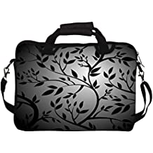 """Snoogg Black Trees Seamless Vector Wallpaper 15"""" 15.5"""" 15.6"""" inch Laptop Notebook SlipCase With Shoulder Strap Handle Sleeve Soft Case With Shoulder Strap Handle Carrying Case With Shoulder Strap Handle for Macbook Pro Acer Asus Dell Hp Sony Toshiba"""