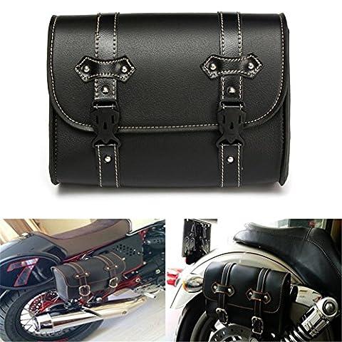 LEAGUE&CO Universal Motorradtasche Gepäcktaschen Werkzeugtasche Satteltasche Tasche für Harley Yamaha Honda (Chrome Cruiser Satteltaschen-)