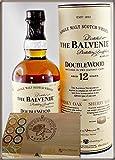 Balvenie Double Wood 12 Jahre Single Malt Whisky mit 45 DreiMeister Edel Schokoladen im Holzkistchen, kostenloser Versand