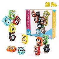 BBLIKE Wooden Blocks, 12 Pcs Cute Owl Blocks Building Blocks Stacking Bricks Toys Set with Numbers, Preschool Education Toys Balance Game for Aged 3+ Boys & Girls