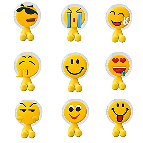 Fun Emoji Toothbrush Holder Set Emoticon Style for Kids, Perfect for Motivating Your Children to Brush Their Teeth, Pack of 9 Wall Mounted Suction Cup Hooks for Shower, Bathroom, Garage,