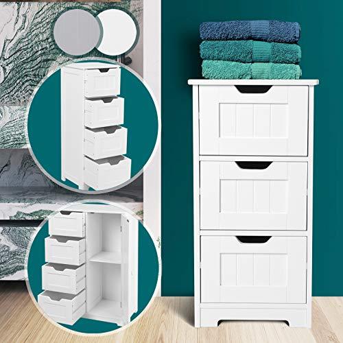 Badschrank aus holz in weiss oder grau | 3 verschiede Kompartibel modelle,mit 3 oder 4 Schubladen und Komode mit 4 Schubladen und 1 Tür | Badezimmerschrank, Beistellschrank, Badezimmermöbel, Schubladenkommode