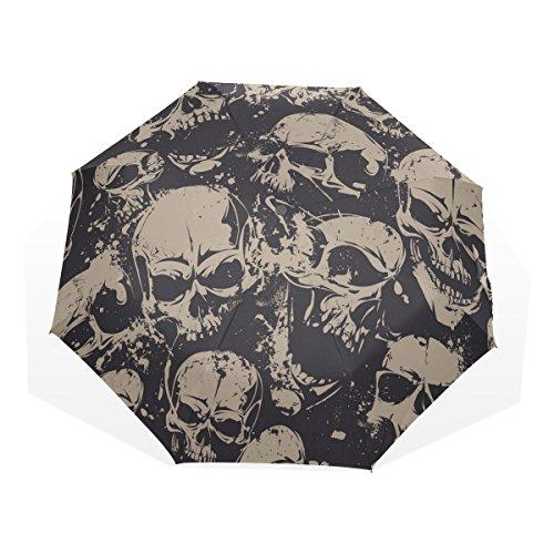 GUKENQ Paraguas de Viaje con diseño de Calavera Muerta, Ligero, Anti Rayos UV, Paraguas de Lluvia para Hombres, Mujeres y niños, Resistente al Viento, Paraguas Compacto