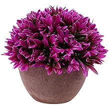 Flores Plantas de Orquídeas Artificiales Deja Bonsai Macetas Jardín Casa Adorno Hogar - Rojo