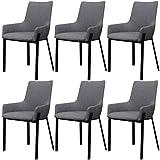 Festnight 6 Stücke Esszimmerstühle Essstuhl Küchenstühlr Küchenmöbel mit Armlehne Stoffbezug Hellgrau