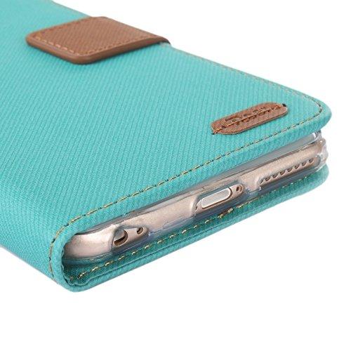 Phone case & Hülle Für iPhone 6 Plus / 6S Plus, Brüllen Streifen Textur Leder Tasche mit Halter & Card Slot & Wallet ( Color : Purple ) Blue