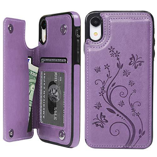 Promixc Handyhülle für iPhone XR Hülle, Premium PU Leder Wallet Case Schutzhülle Flip Kreditkarten Halter Brieftasche Handytasche mit Ständer Funktion und Magnetic Snap für iPhone XR - Lila Lila Cover Case Snap