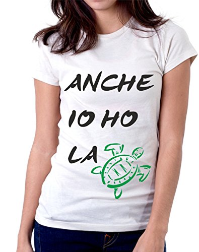 t-shirt anche io ho la tartaruga frase simpatica summer S M L XL XXL maglietta by tshirteria bianco
