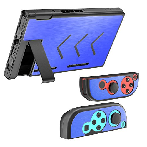 Fly USA MoKo Case for Nintendo Switch, Segment Design Protective Slim Aluminum Hard Switch Shell Set, Shock-Absorption and Anti-Scratch for Nintendo Switch Console & Joy Con Controllers 2017 – Dark Blue 51SQ3AD4SyL