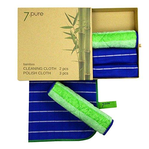 7.Pure Bambus SET, 2 x Putztücher und 3 x Poliertuch, Sauber ohne Putzmittel, antibakteriell, fusselfrei, staubfrei, mühelose Reinigung, Wisch-Lappen, Putzlappen, Fensterleder, Tücher