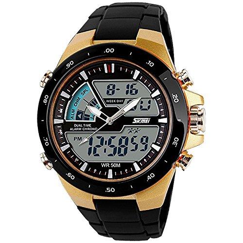 TTLIFE 1016 Mens multifunzionale di quarzo analogico-digitale doppio display tempi Outdoor Sports orologio da polso impermeabile