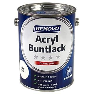 Renovo Acryl Buntlack weiß 0095 2,5 Ltr. glänzend 2in1-Lack Weißlack Glanzlack