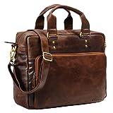 STILORD 'Jack' Ledertasche Aktentasche Herren Vintage Umhängetasche für Büro Business Arbeit 13,3 Zoll Laptoptasche für große DIN A4 Aktenordner echtes Leder, Farbe:antik - braun
