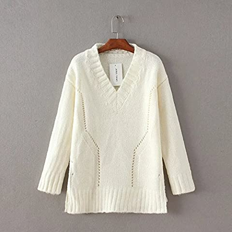 WJS-ClothingClothingThe sweater sweater dress and head color heart-shaped collar sweater,white,F