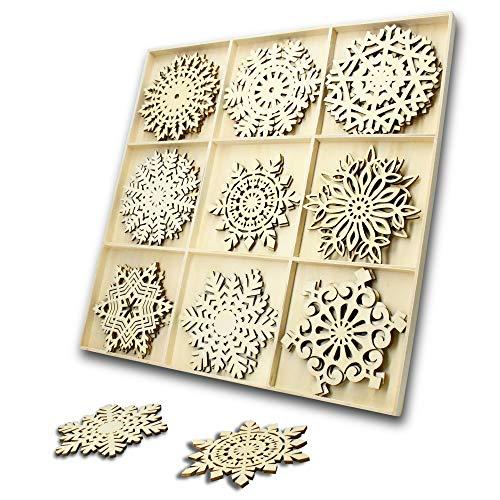27 Stücke Anhänger aus Holz weihnachten holz Leere Hängende Holzstücke Weihnachtsbaum Anhänger Ornamente für Urlaub Dekoration und Diy Handwerk Herstellung (27Stk.Schneeflocke )