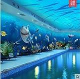 """Loaest 3D 3D Mondo Subacqueo Carta Da Parati, Ktv Piscina, Pesce Di Mare, Delfino """"Carta Da Parati, Camera Da Letto, La Stanza Dei Bambini Murali,In Flannelette (Foglio)"""