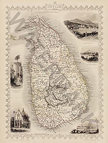 CEYLON SRI LANKA MAP 12x16