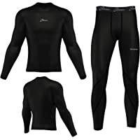 Men's Boys Body Armour Compression Baselayers Thermal Shirt Top Skin Leggings Set