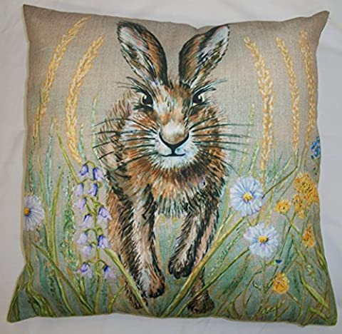 Stunning Spring Hare Cushion cover in a spring time meadow 18