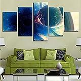 cchpfcc Kein Rahmen Modernes Zuhause Wandkunst Dekor Bilder 5 Stücke Planeten Kollision Schwarzlicht Ball Abstrakte Landschaftsmalerei Leinwand Poster