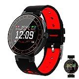 Männer Smartwatch, Farbbildschirm Fitness-Uhr mit Pulsmesser Uhr Ip67 Wasserdicht Smart Band mit Schrittzähler Schrittzähler Fitness Tracker,Red