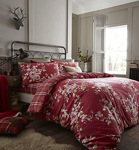 Doppelbettbezug-Set von Catherine Lansfield, dunkelrot, baumwolle, dunkelrot, King Size (Rot Bettwäsche-set König)