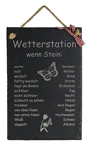 Feiner-Tropfen Schiefertafel Wetterstation wenn Stein Wetterstein Gartendekoration Wetterschild Laser Gravur