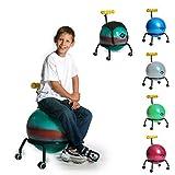 BASIT® Kids Kinderstuhl Gesundheitsstuhl Drehstuhl + Gymnastikball Sitzballstuhl Ballstuhl für Kinder, mit Rollen + 1x schwarzes Sitzkissen, Farbe:bunt