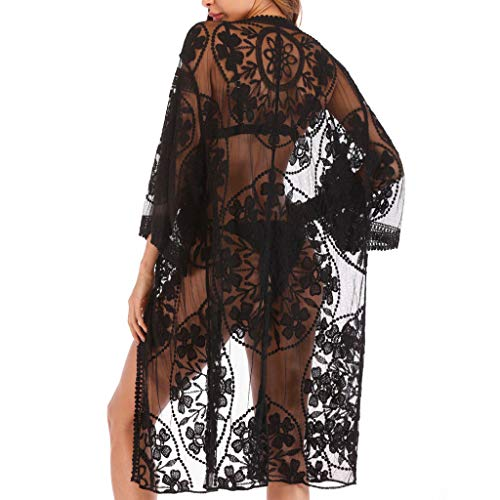AmyGline Damen Kimono Cardigan Strand Chiffon Bluse Tops Bikini Cover up/Bohemia Floral Kimono/SexyHohl Bikini Bluse/Spitze böhmischer Strand Kimono Mantel - Lace Detail Cardigan