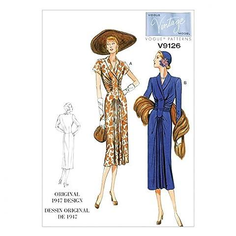 Vogue Damen Schnittmuster 9126Vintage Stil Kleider + Gratis Minerva Crafts Craft Guide
