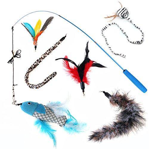 eug ausziehbar Interaktives Teaser Zauberstab, mit 6Refills Bell Feder Lange Tuch und Fisch für Katzen Kätzchen (Tücher Refill)