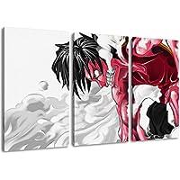 One Piece, Luffy imagen, de 3 piezas de tela (Total Tamaño: 120x80 cm), la impresión del arte de alta calidad como un mural. Más barato que una pintura al óleo! ADVERTENCIA NO cartel!
