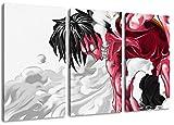 One Piece, Ruffy Motiv, 3-teilig auf Leinwand (Gesamtformat: 120x80 cm), Hochwertiger Kunstdruck als Wandbild. Billiger als ein Ölbild! ACHTUNG KEIN Poster oder Plakat!