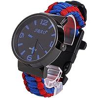 Beautyrain 6 en 1 Paracord Survival reloj pulsera Paracord de la supervivencia Reloj de pulsera con Flint Brújula El silbido del arrancador de fuego del raspador Para el recorrido al aire libre Sender