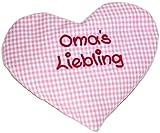 Herzkissen mit Spruch Omas Liebling rosa kariert