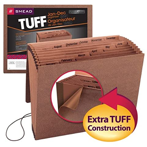 Smead TUFF® Expanding File, Monthly (Jan.-Dec.), 12 Pockets, Flap and