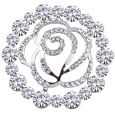 FENGJI Full Rhinestone Rose Bouquet Brooches for Women Crystal Coat Scarf Decoration Brooch Pins Silver