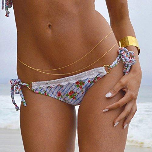 Sexy Bikini Beach Body Bauch Kette Tassel Kette an der Taille der Brille Pixnor Mode Feminine (Gold)